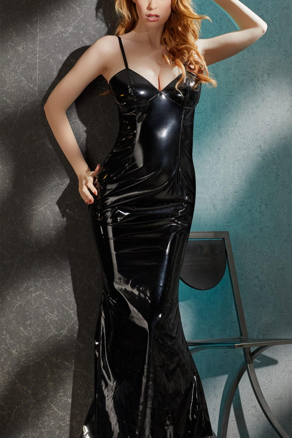 Long Tight Fitting Vinyl Dress