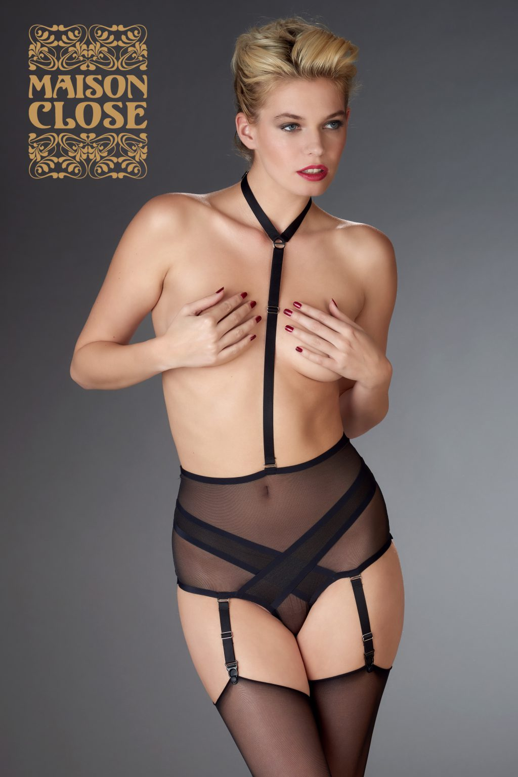 HIGH WAIST THONG WITH HARNESS