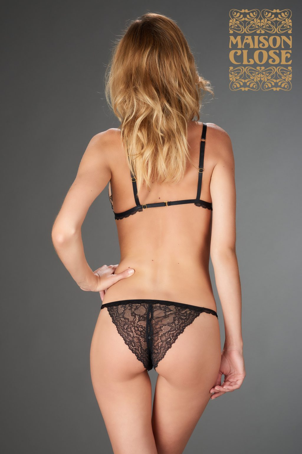 LE PETIT SECRET - OPENABLE TANGA - BLACK