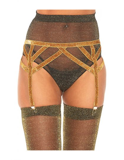 Lurex Elastic Garter Belt Gold