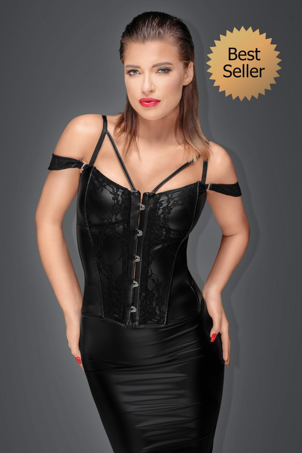 Noir Corset with lace and Power Wetlook