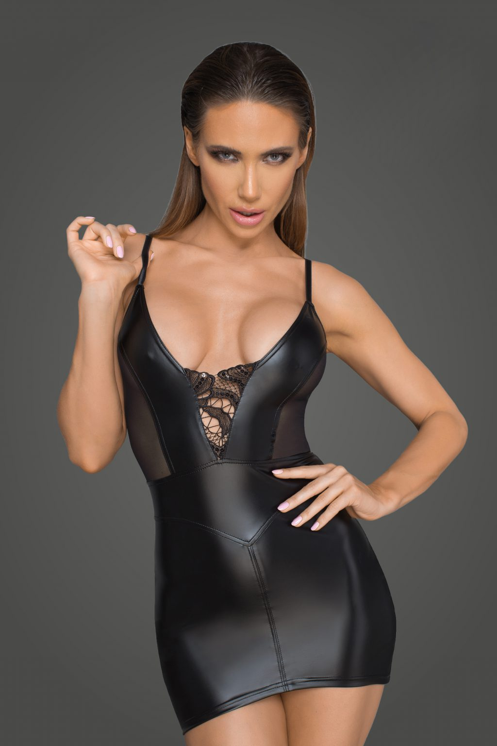 Powerwetlook minidress with tulle inserts and corset cuts