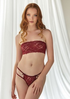 Lace Bandeau and Thong set Red