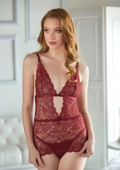 Lace Chemise with G-string Red