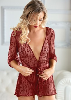 Leopard Lace Robe with String Red
