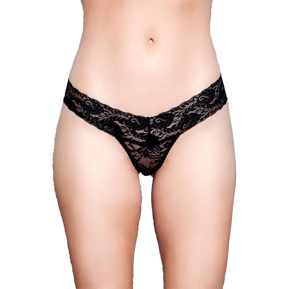 V-Cut Lace Panties Svart (Storlek: Medium)