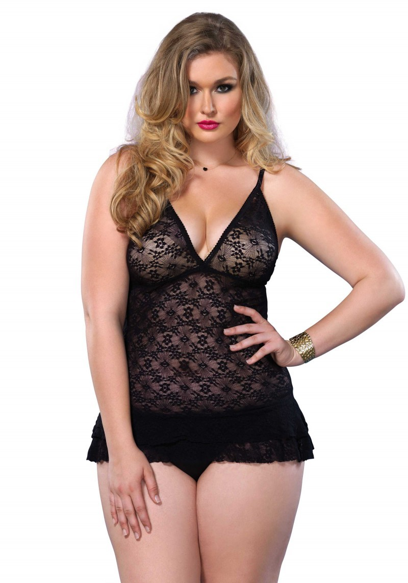 Lace Chemise With Ruffle