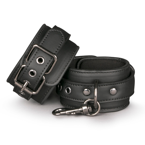 BLACK LEATHER HANDCUFFS