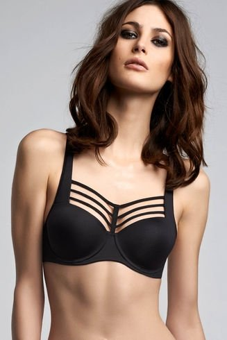 Leading Strings Plunge Balcony Bra - Strictly Black