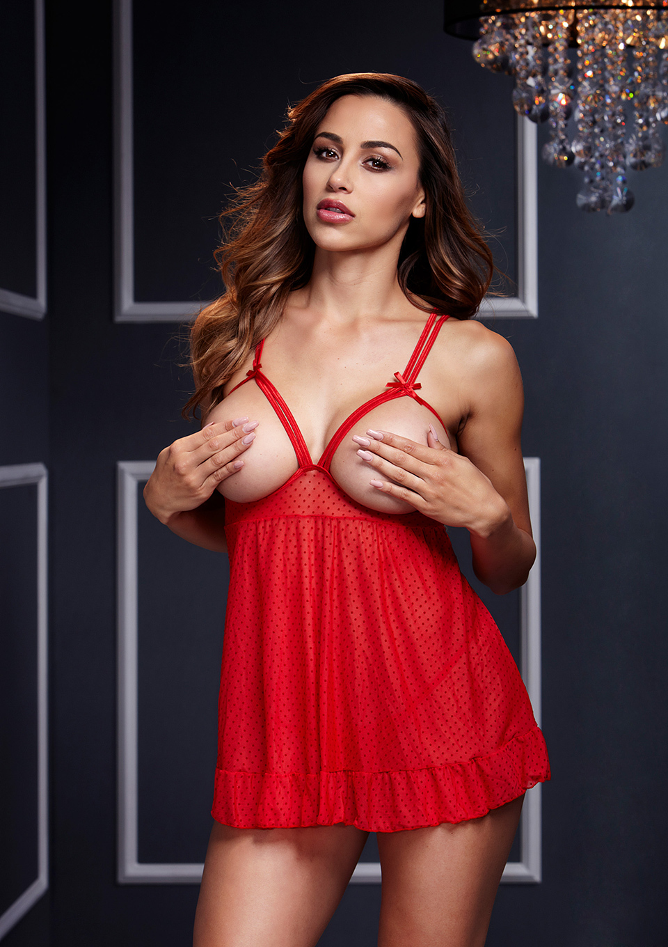 BABYDOLL W OPEN CUP BRA OS RED