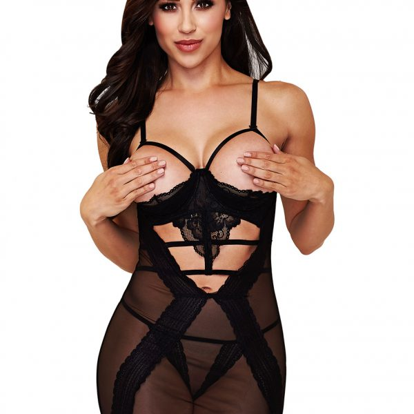 Baci: Lace & Mesh Show Me Chemise with G-string