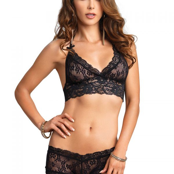 BRA AND CUT OUT SHORT S/M BLACK