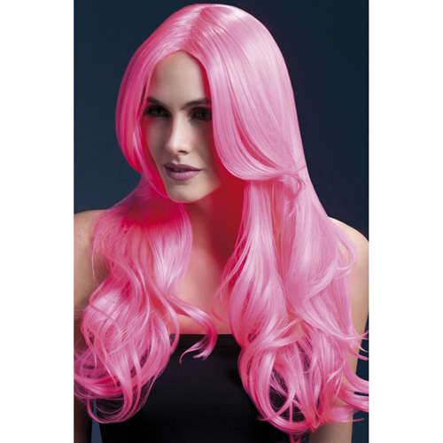 Peruk 66cm Neon Pink Long Wave with Centre