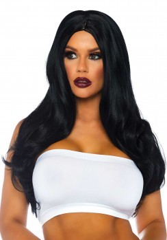 Long wavy wig red Black