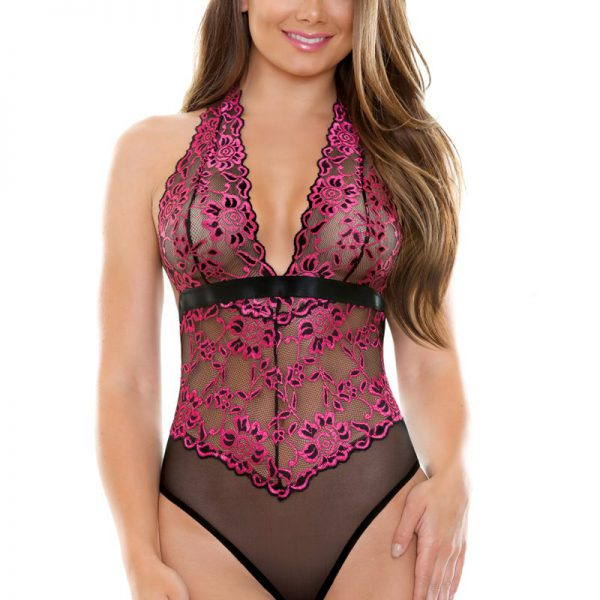 Sherry Two Tone Lace Halter Teddy från Fantasy Lingerie.