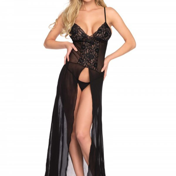 High slit gown and string