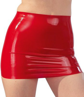 Latex Mini Skirt Red (Storlek: X-Large)