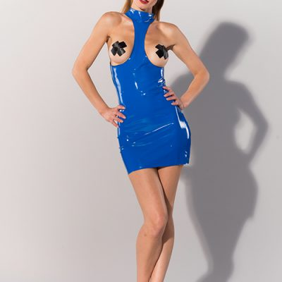 DATEX BLUE COLLARED EXPOSURE DRESS