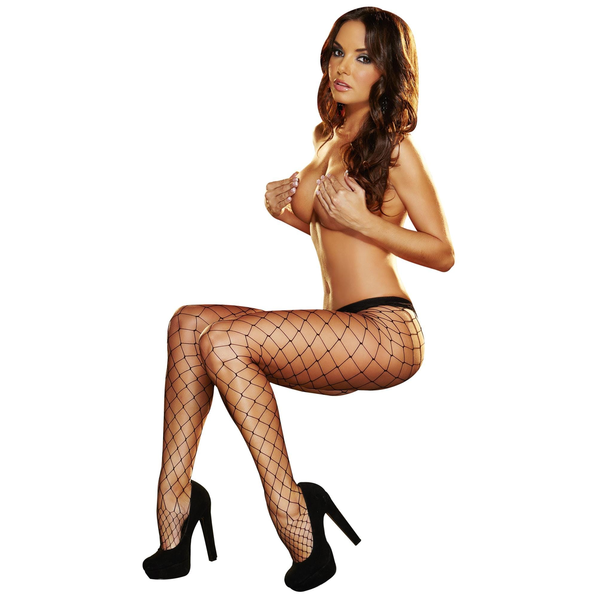 Lapdance - Big Net Pantyhose Black