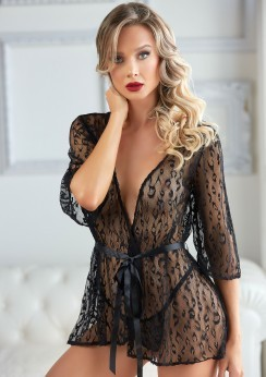 Leopard Lace Robe with String Black