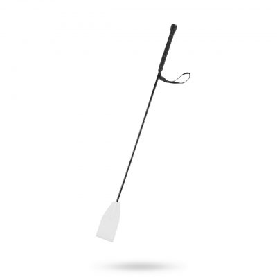 & Let it Sting - White Leather Riding Crop