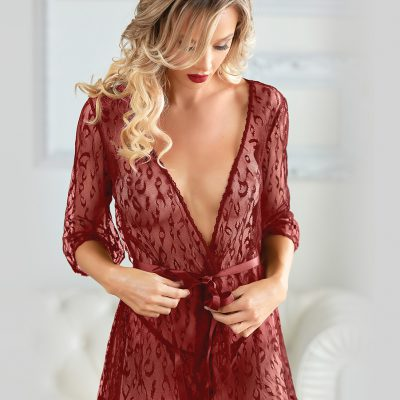Allure: Valentina Leopard Lace Robe with G-string