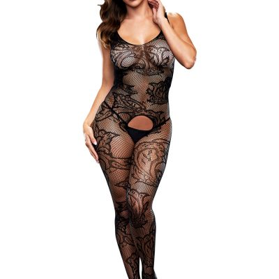 Baci: Crotchless Jacquard Bodystocking