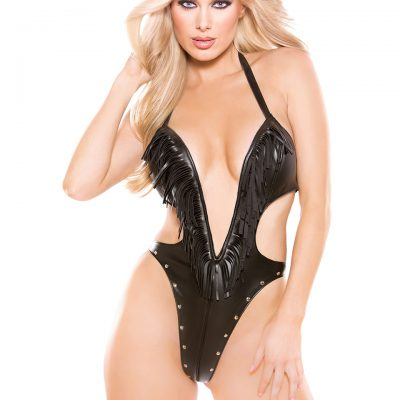 Faux Leather Deep-V Teddy One Size