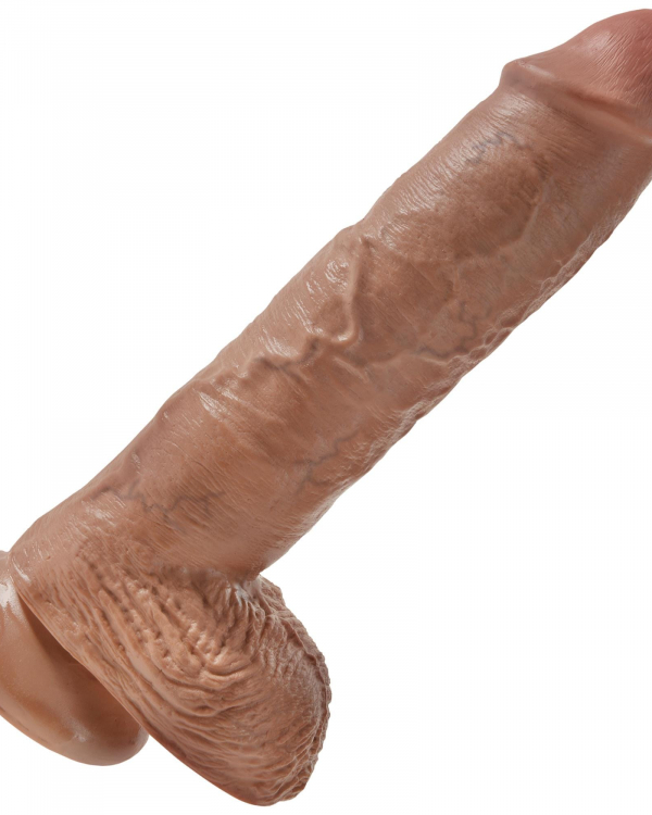 King Cock 10inch Cock With Balls Tan