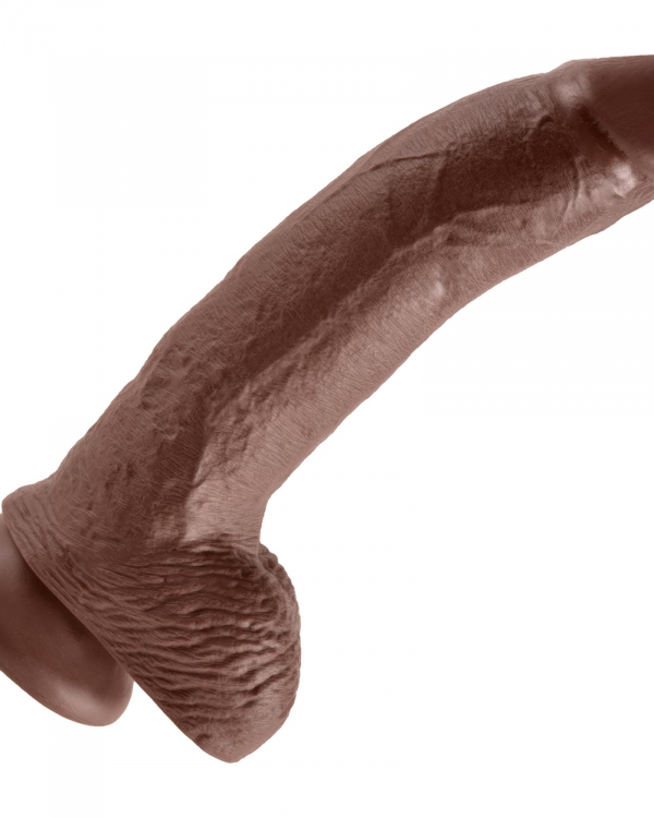King Cock 9inch Cock With Balls Brown