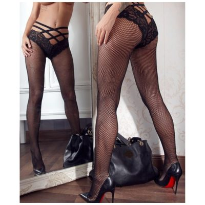 Net tights with criss-cross briefs