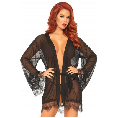 Sheer Robe with Flared Sleeves