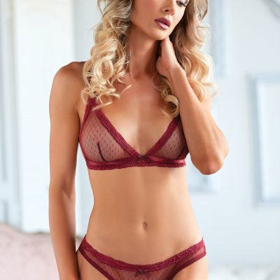 Mesh Bralette & Lace Up Panty Red